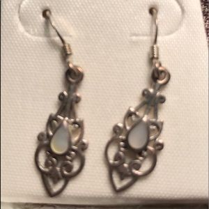 💙Sterling and moonstone filigree drop earrings